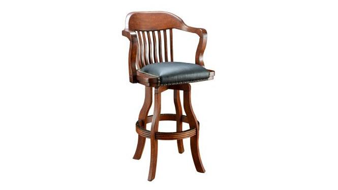 美式实木吧椅 皮艺旋转吧台椅 欧式餐厅吧台凳子酒吧椅7045-35-BS