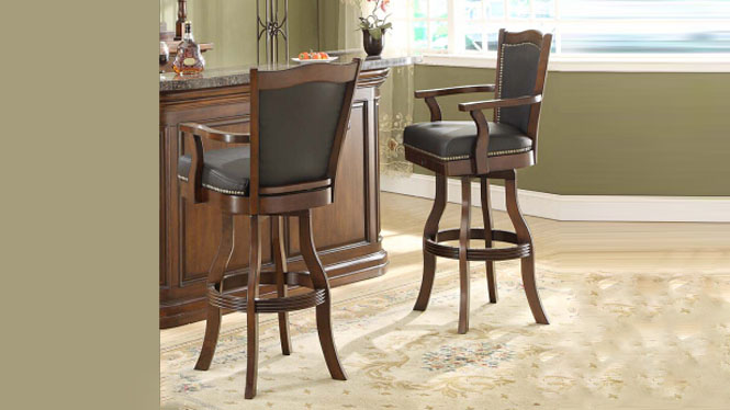 酒吧椅 实木吧椅 美式旋转吧台椅 欧式餐厅吧台凳7040-35-BS