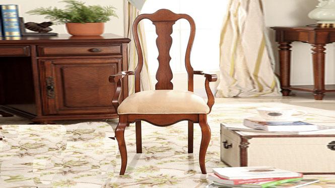 美式乡村实木真皮布艺扶手书桌椅欧式田园餐椅600-42-35