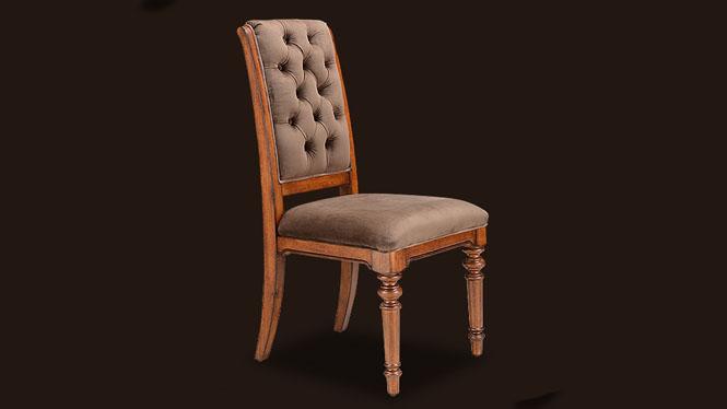 美式实木布艺餐椅 餐厅餐桌椅休闲靠背椅 酥软海绵餐椅202-24-35