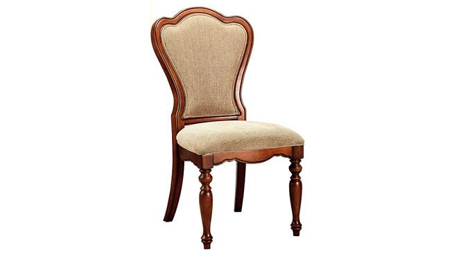 美式乡村全实木餐椅新古典复古布艺椅子酒店餐椅书椅800-24-35