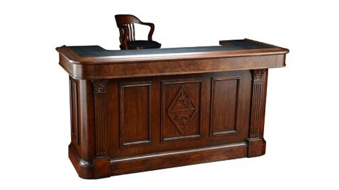 实木吧台 美式乡村吧台桌 欧式餐厅酒吧娱乐厅收银台前台1200-35-B