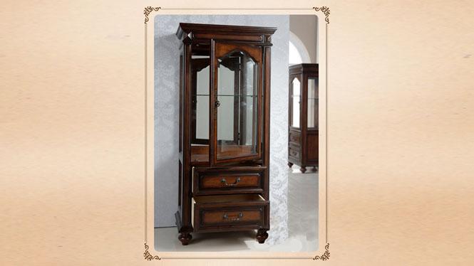 全实木酒柜 电视玻璃装饰柜 客厅电视组合边柜 酒柜800-14-35