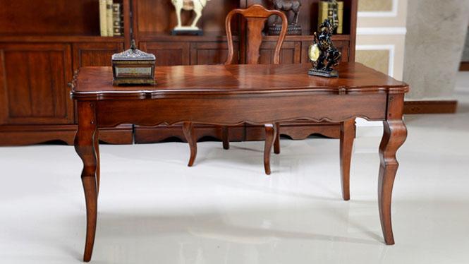 书桌实木美式乡村欧式田园电脑桌法式古典现代简约办公书桌台600-41-35