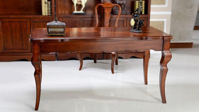 实木书桌 美式乡村写字台 欧式田园书房电脑桌办公桌 书桌600-41-35