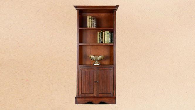 美式实木书柜书桌复古带门书架简易置物架自由组合600-43A-35