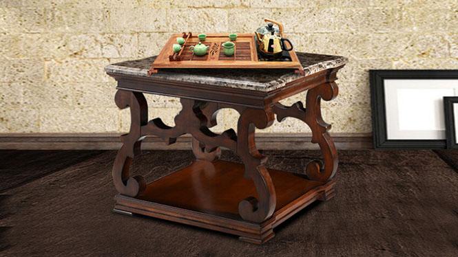 美式角几方形大理石边几客厅实木客厅沙发方几电话几801-07-35
