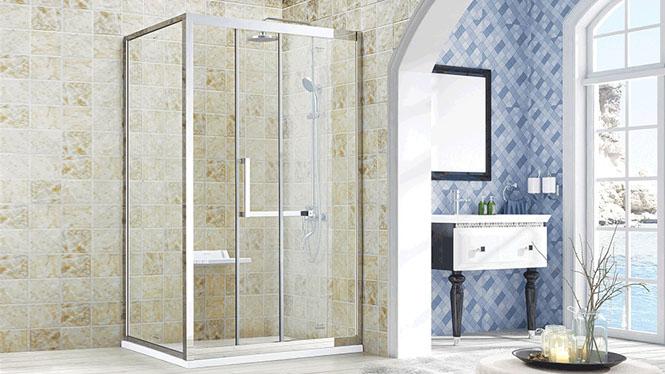 方型L型不锈钢玻璃门卫生间门隔断浴屏定制洗浴房322004