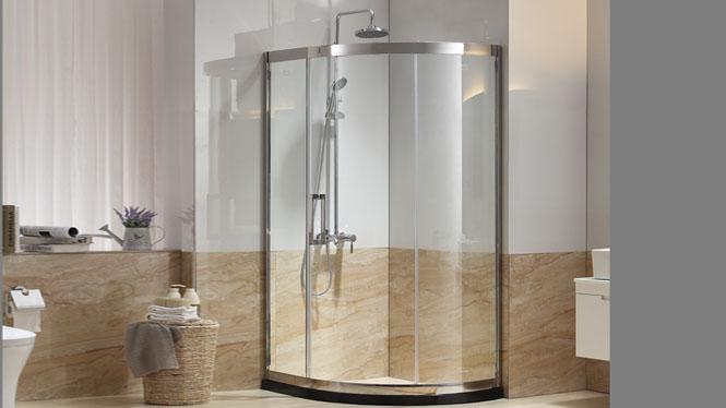 全弧形不锈钢淋浴房 钢化玻璃移门式浴屏玻璃门222005