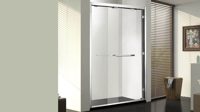 一字形整体淋浴房定制简易型卫生间玻璃隔断浴室不锈钢移门122004