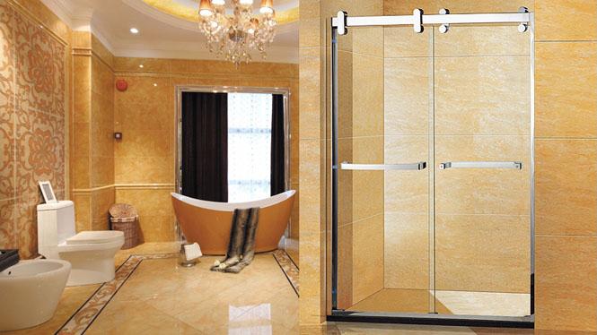 淋浴房移门高档一字型304不锈钢整体简易隔断室定制122002