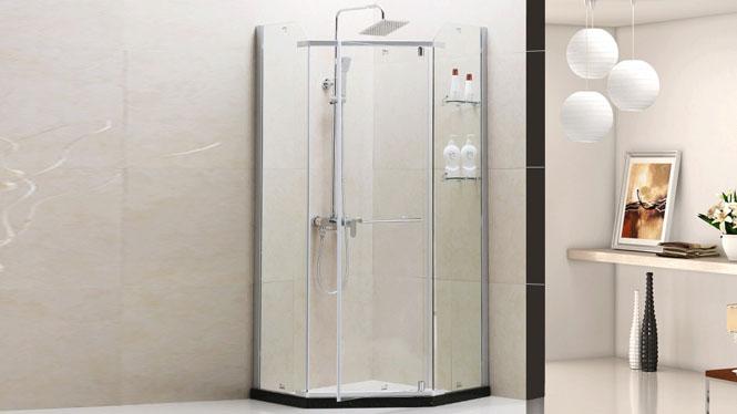高档钻石型淋浴房 整体铝合金沐浴房 钢化玻璃 隔断411005