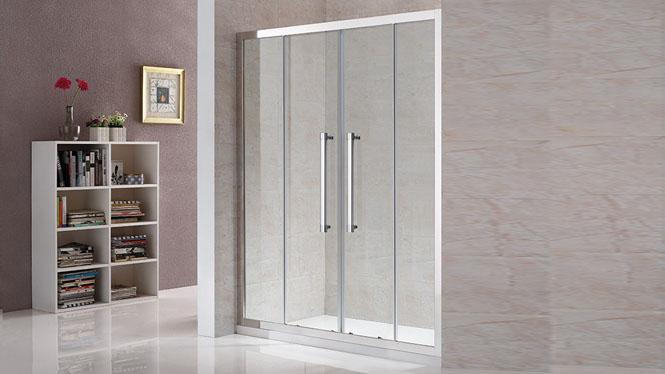 一字型淋浴房铝合金钢化玻璃易洁沐浴房双移门112003