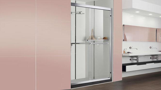 一字隔断 推拉移门 铝材淋浴房屏风 浴室玻璃门隔断112001
