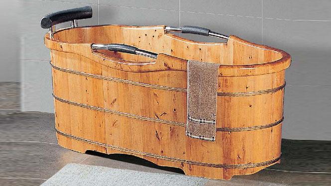 浴桶 头枕洗澡木桶 成人家用养生沐浴盆 木质大号泡澡洗浴缸051A